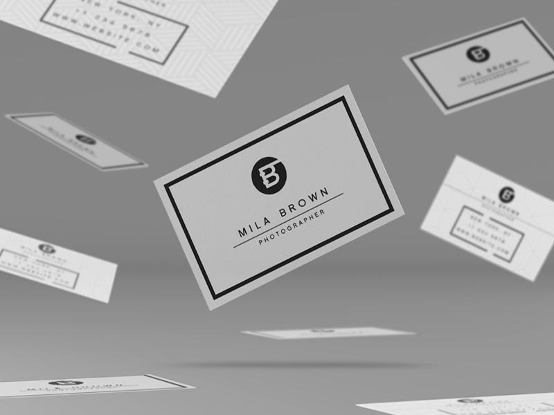 Flying Business Cards PSD Mockup | MockupsQ