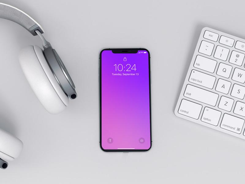 Iphone X With Keyboard And Headphones Psd Mockup Mockupsq
