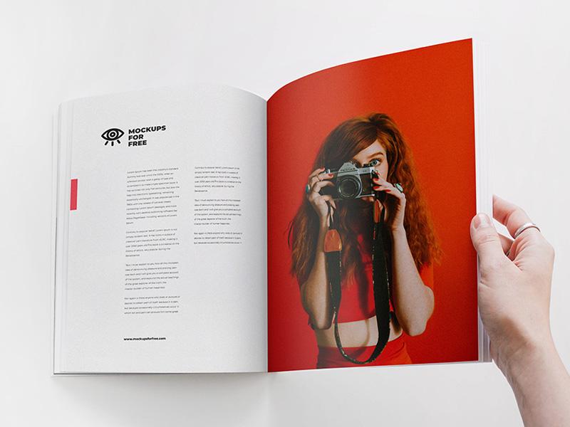 Open Magazine By Female Hand Psd Mockup Mockupsq