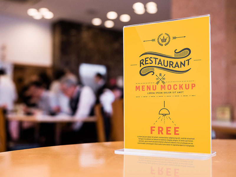 restaurant menu standing psd mockup