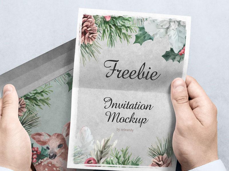 Invitation Card In Hands Psd Mockup Mockupsq